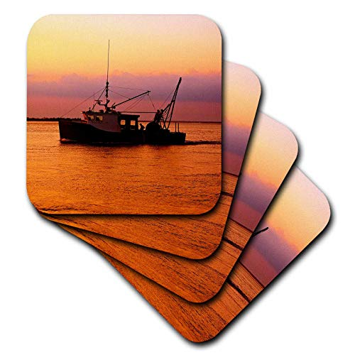 3dRose Stamp City - transportation - Photograph of a fishing boat heading home during a stunning sunset. - set of 8 Ceramic Tile Coasters (cst_302839_4)