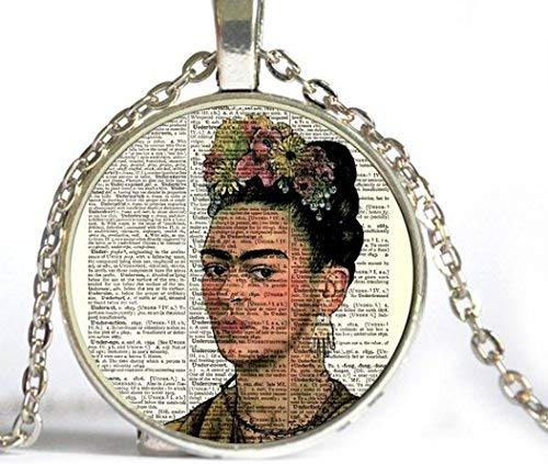 Frida Kahlo Portrait Dictionary Page Art Print Necklace