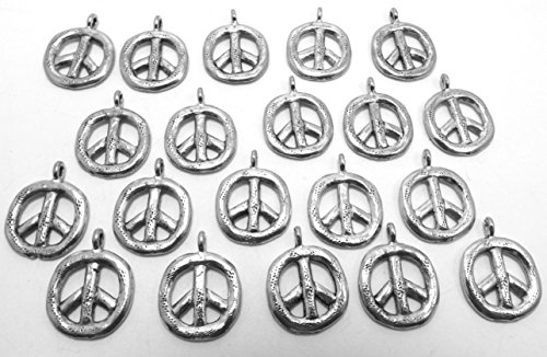 Set of Twenty (20) Silver Tone Pewter Peace Pendants-5218