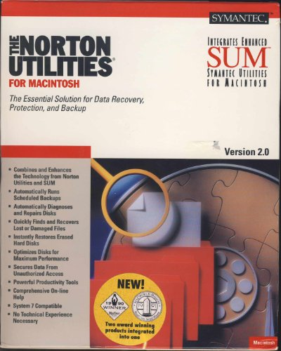 Symatec Norton Utilities for MacIntosh Version 2.0 - The Essential Solution for Data Recovery, Protection, and Backup