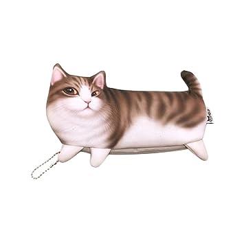 STOBOK Lindo estuche de lápices de gatos Kawaii Cat Pattern Bolsa de lápices Bolsa de monedas Bolsa de maquillaje con cierre de cremallera para niña niño ...