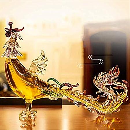Secret night Phoenix Glass Bottle Botella de Vino, Decantador de Vino Diseño Creativo Tapón hermético, Alto Borosilicato Vidrio Forma de Pollo Carafe para EL LICADOR Scotch Bourbon Wine