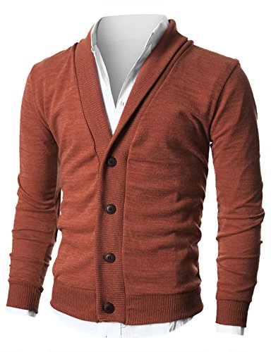 Ohoo Mens Slim Fit shawl Collar Knit Cardigan With Elbow Patch