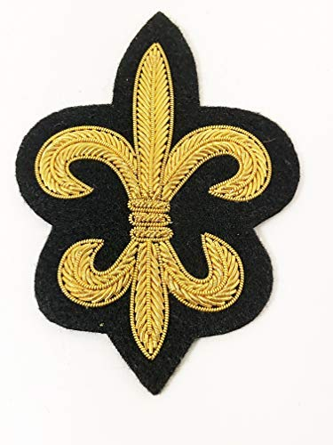 - Vintage Golden Bullion Hand Embroidered Fleur-de-lis Design Applique. Very Unique!