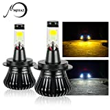 Mihaz Super Bright H7 Led Fog Light Bulb,8000K 60W with Advanced Flip Chip and All-in-One Conversion kit, Yellow-White Lighting fit with Snowy Foggy Days DRL (2 Pack)