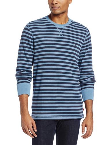 IZOD Men's Stripe Waffle Crew Neck Shirt, True Blue, - True Stripe Shirt Blues