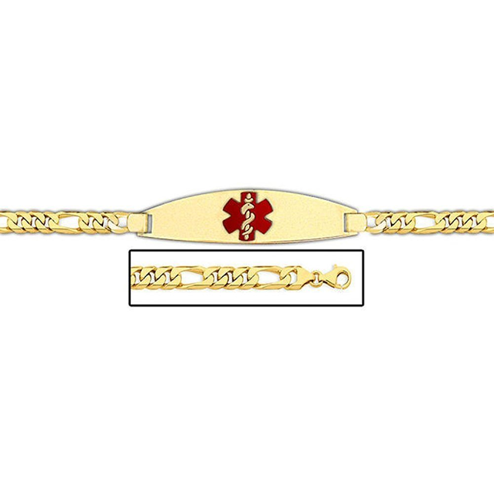 PicturesOnGold.com 14K Gold Medical ID Bracelet W/Figaro Chain with Enamel - 8-1/2 WITH ENGRAVING
