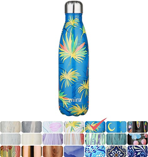 MIRA Vacuum Insulated Travel Water Bottle | Leak-proof Double Walled Stainless Steel Cola Shape Portable Water Bottle | No Sweating, Keeps Your Drink Hot & Cold | 17 Oz (500 ml) (Blue Palm)