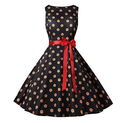 Dress De Femmes Imprimée Head Fille A Robes Rétro Vintage Femme Cocktail Halloween Robe Pumpkin A Flamee Alian Manches Sans ligne Zw5qSvBx5