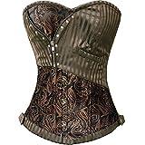 Miss Moly Sexy Brown Burlesque Basque lingerie Fancy Rouge Boned Lace up Corset (L, Brown)