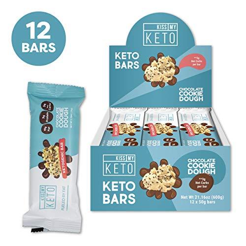 New! Kiss My Keto Snacks Keto Bars - Keto Chocolate Cookie Dough, Nutritional Keto Food Bars, Paleo, Low Carb/Glycemic Keto Friendly Foods, All Natural On-The-Go Snacks, Quality Fat Bars, 3g Net Carbs