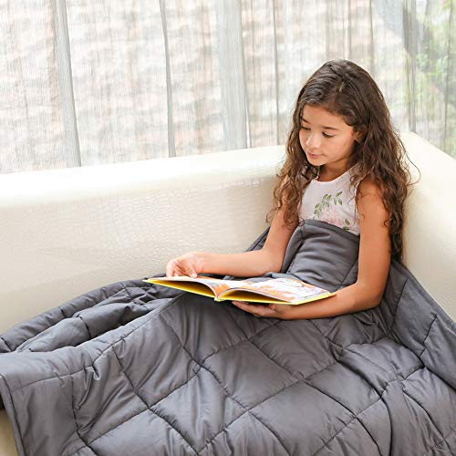 Fabula Life 5lbs Weighted Blanket for Kids, Premium Cotton Heavy Blanket with Glass Beads for Calm Deep Sleep (48