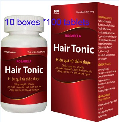 10 boxes *100 tablets - HairTonic functional food effective from herbal anti-hair loss, baldness, silky and black hair, stimulate hair growth, anti-silver hair, dry hair