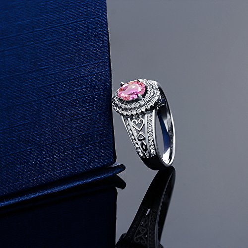 1.41 Ct Oval Pink Sapphire 925 Sterling Silver Ring by Gem Stone King (Image #2)