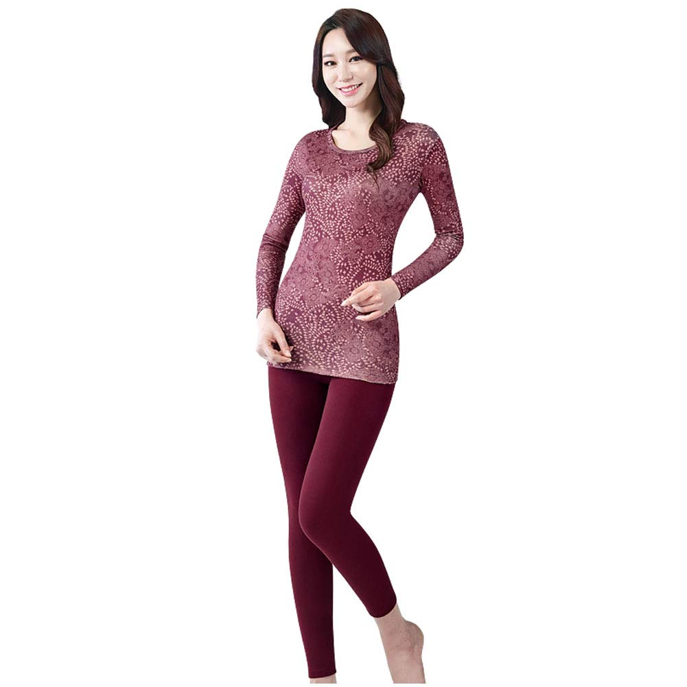 BYC Women's Thick Fleece Lined Thermal Underwear Set Top Bottom Mid Weight Long Johns Set (Wine, 90, S) by BYC