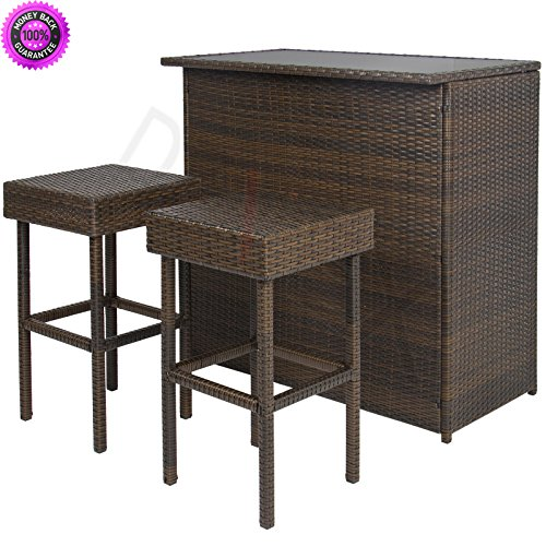 DzVeX 3PC Wicker Bar Set Patio Outdoor Backyard Table & 2 Stools Rattan Furniture And patio furniture home depot patio furniture clearance sale patio furniture sets patio furniture lowes discount (Bar For Benches Sale)