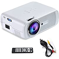Yuntab Portable Video Mini Projector BL80 1200 Lumens 4 inch LED Home Theater Support PC Laptop TV Box With HDMI TV VGA AV USB SD 1080P For Home Cinema Theater Child Games (White)