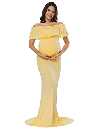 5a430d1a6829 JustVH Women's Off Shoulder Ruffles Maternity Slim Fitted Gown Maxi  Photography Dress Yellow