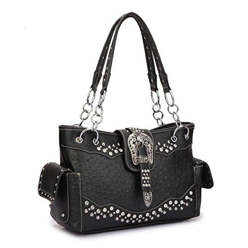 Women Western Handbags Purses Rhinestone Studded Shoulder Bags With Side Pockets (Ostrich style, Black) by Dasein