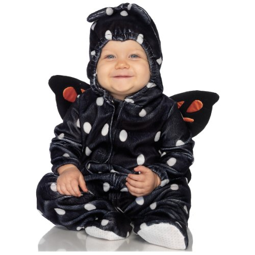 Leg Avenue Anne Geddes 2Pc.Baby Butterfly Soft Hooded Pajama with Wings Tiny Antennae, Black/Orange, 18M-24M ()