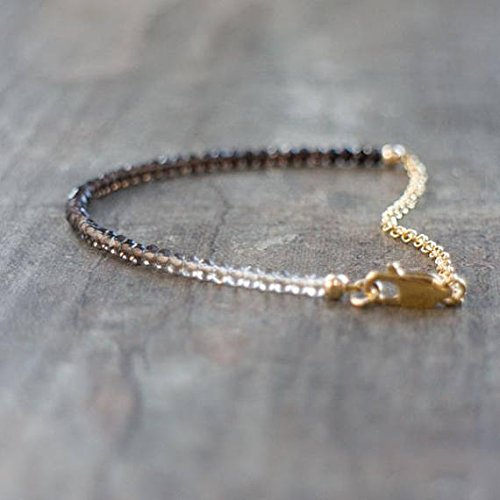 JP_Beads Smoky Quartz Bracelet in Silver Or Gold, Ombre Bracelet, Smokey Quartz Jewellery, Quartz Bracelet, Dainty Gemstone Bracelet, Wife Gift ()