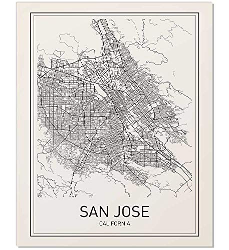 San Jose, San Jose Poster, City Map Posters, San Jose Map, California Print, California Map, Map Wall Art, Modern Map Art, Minimalist Print, Scandinavian Poster, Black and White, 8x10