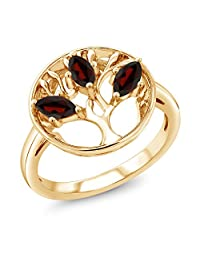 0.78 Ct Marquise Red Garnet 18K Yellow Gold Plated Silver 3-Stone Tree Of Life Ring