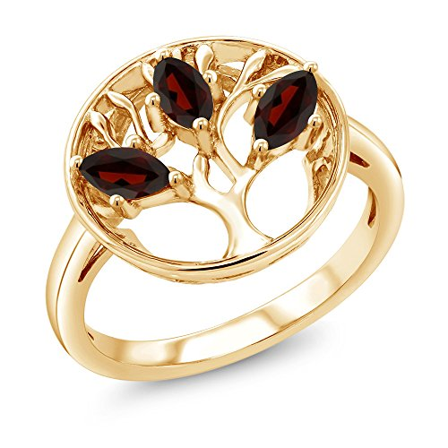 0.78 Ct Marquise Red Garnet 18K Yellow Gold Plated Silver 3-Stone Tree Of Life Ring (Size 9) ()