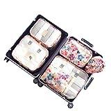 Travel Luggage Organizer Clothes Packing Cubes Storage Bags 6 Set (Orange)