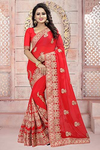 Da Facioun Indian Sarees Women Designer Partywear Traditional Ethnic Sari. Da Facioun Femmes Indiennes De Saris Concepteur Partywear Sari Ethnique Traditionnelle. Red 3 Rouge 3