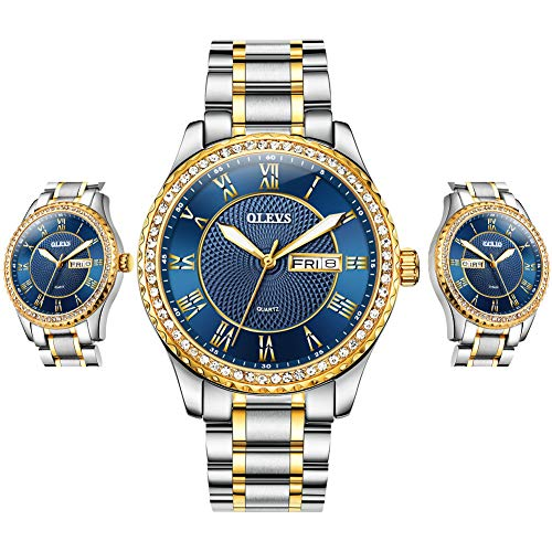 Watch Men Waterproof Luxury Brand Japan Movement Analog Quartz Watch Fashion Rhinestone Blue/Black/Gold/White Dial Stainless Steel Male Watches Calendar Date Display Business Wrist Watches for Men