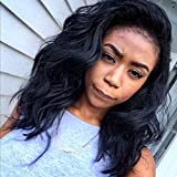 AM Youth Full Lace Wig Short Body Wave Human Hair Glueless Full Lace Wigs Bob Brazilian Virgin Hair Natural Looking Middle Part 130 Density With Baby Hair For Black Women 14''