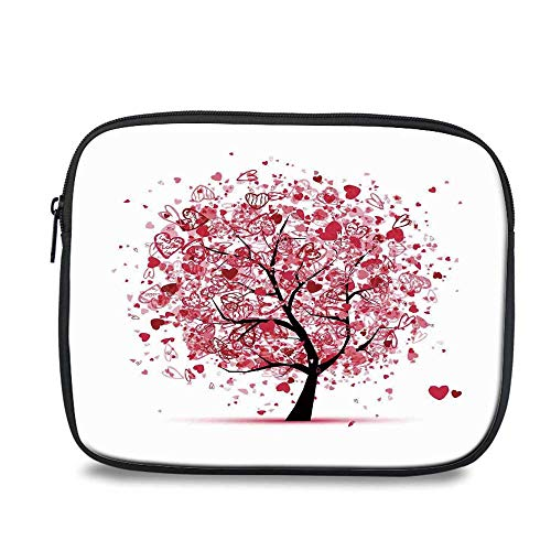 (Tree of Life Durable iPad Bag,Ornate Valentine Tree with Swirling Hearts Doodles Love Future Couple Decorative for iPad,10.6