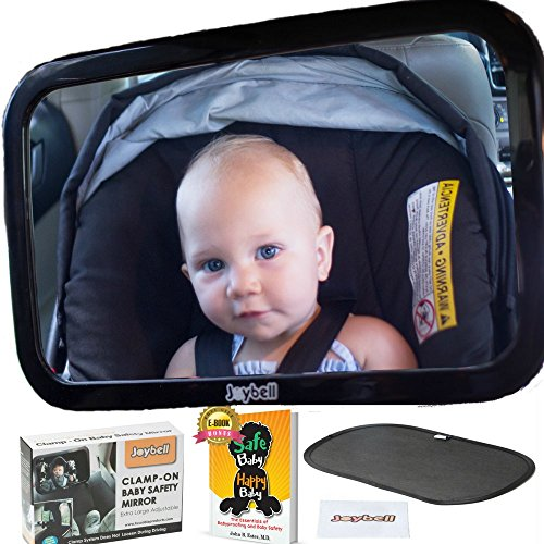 Backseat Baby Mirror, Clamps To Headrest Post For Maximum Safety, Shatterproof And Crash Test Proven –Extra Large for Full View of Baby in Rear Facing Carseat – Includes Babyproofing eBook, - Luxury Uk Brands Top