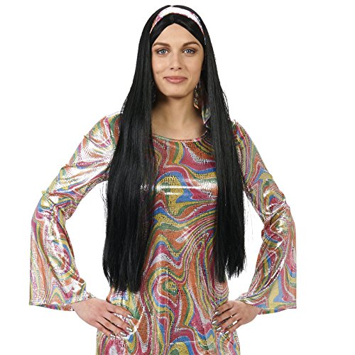 Black 60's Female Adult Wig (70s Hippie Costumes)