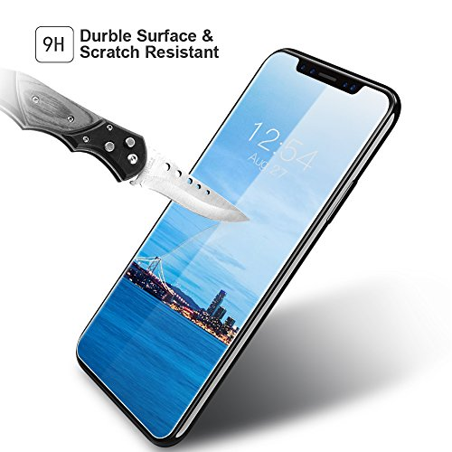 Protector Pantalla iPhone X, Myriann iPhone 10 Cristal Templado 9H Dureza con Herramienta de Instalación [3D Touch Compatible], Anti-Huella para Apple ...
