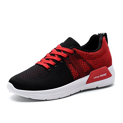 KONHILL Women's Breathable Athletic Walking Casual Sneakers Lace - Up Running Sports Shoes,Black/Red,39