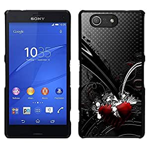Negro rojo del corazón del lunar gris abstracta- Metal de aluminio y de plástico duro Caja del teléfono - Negro - Sony Xperia Z3 Compact / Z3 Mini (Not Z3)