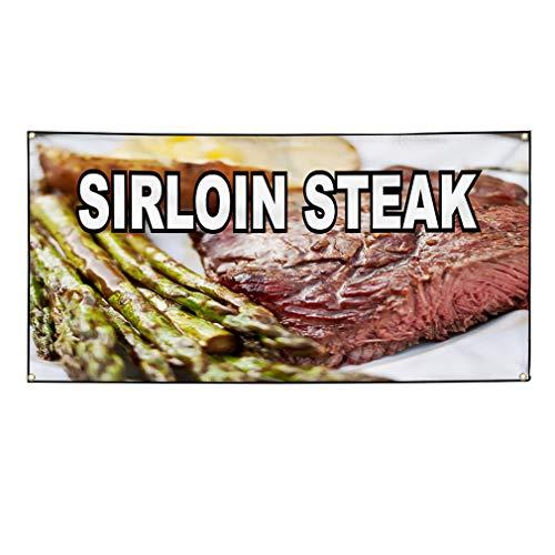 (Vinyl Banner Sign Sirloin Steak Food Fair Restaurant Cafe Market Marketing Advertising - 48inx120in (Multiple Sizes Available), 10 Grommets, Set of 2)