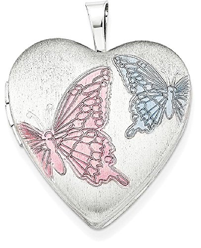 ICE CARATS 925 Sterling Silver 20mm Enameled Butterflies Heart Photo Pendant Charm Locket Chain Necklace That Holds Pictures W/chain Fine Jewelry Gift Set For Women (Enameled Locket)