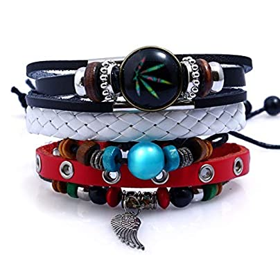 ZUOZUO Leather Wristband Vintage Handmade Feather Multilayer Leather Bracelet Set Men S Knitted Coffee Rope Wrap Bracelet And Bangle Male Estimated Price £17.99 -