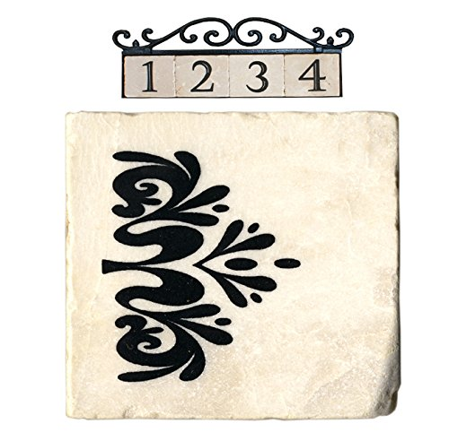NACH AZ-CLASSIC House Address Number Tiles - Decorative Tile Leaf, Marble/Beige, 4 x (Leaf Tile)