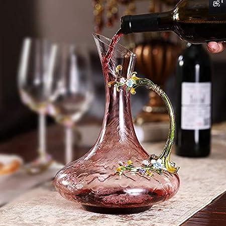 Haida Jarra del Vino, Vino Tinto Jarra con Asa, Soplado A Mano 100% Libre De Plomo Cristal De Vidrio, Botellas De Vino Inicio 1500 Ml Dispensador De Vino De Regalo Whisky Decanter (Color : C)