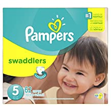 Pampers Swaddlers Diapers Size 5, Super Pack, 62 Count (Packaging May Vary)