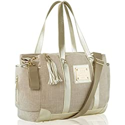 Designer Tote Diaper Bag Women | Luxurious Design | Large Diapering Baby Totebag | 12 Pockets Bonus Stylish Changing Mat Clutch | Great Idea (Classic Tote)