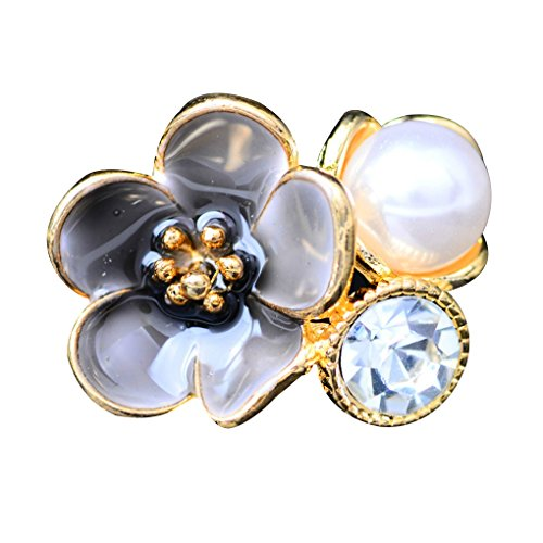 Xuanhemen 10PCS Rhinestone Flower Buttons for DIY Hair Accessories and Bride Hair Bag Decoration Alloy Pearl Button