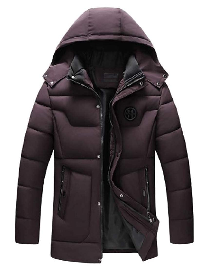 Coolred-Men Winter Mid-Long Zip-up Quilted Relaxed-Fit Hooded Down Parka