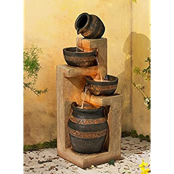 """Stoneware Bowl and Jar Indoor-Outdoor 46"""" H. LED Fountain"""