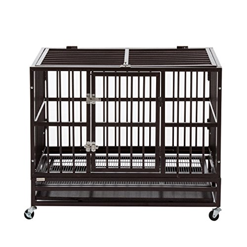 Sliverylake XL 37' Heavy Duty Strong Metal Pet Dog Cage Crate Kennel Playpen w/ Wheels & Tray -...
