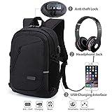 Mochila antirrobo, mochila Daypack 35L con conector de auriculares con interfaz de carga USB y candado con contraseña, mochila al aire libre para negocios de hombres y mujeres, mochila para portátil de 12-16 pulgadas, estudiante (Gris) (El negro)